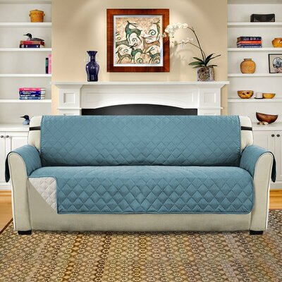 Diamond T-Cushion Sofa Slipcover Upholstery: Smoke Blue/Beige