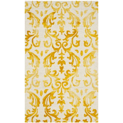 Coleman Hand-Tufted Ivory/Gold Area Rug Rug Size: Rectangle 3 x 5