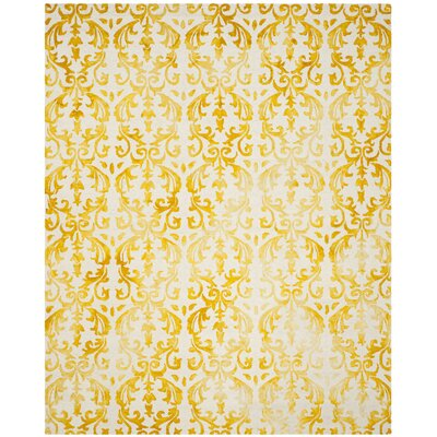 Coleman Hand-Tufted Ivory/Gold Area Rug Rug Size: Rectangle 8 x 10