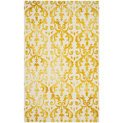 Coleman Hand-Tufted Ivory/Gold Area Rug Rug Size: Rectangle 5 x 8