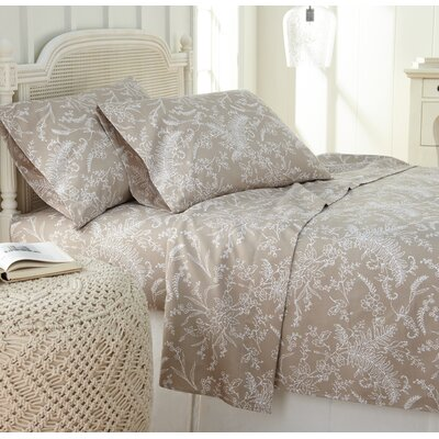 Dixon Print Microfiber Sheet Set Size: Full, Color: Warm Sand/White Flowers