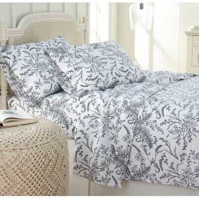 Dixon Print Microfiber Sheet Set Size: King, Color: White/Black Flowers