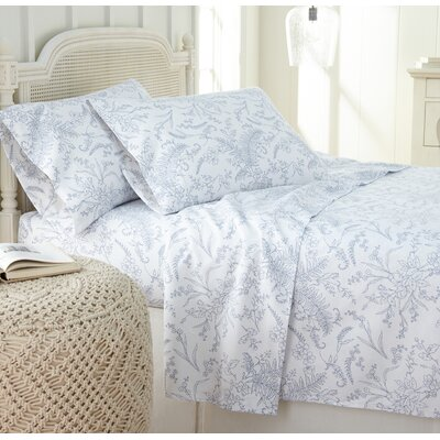 Dixon Print Microfiber Sheet Set Size: Twin, Color: White/Blue Flowers