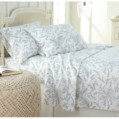 Dixon Print Microfiber Sheet Set Size: Full, Color: White/Teal Flowers