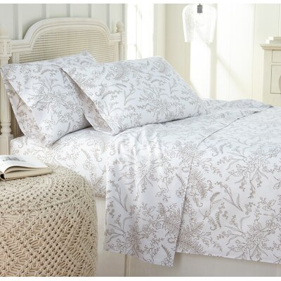 Dixon Print Microfiber Sheet Set Size: Queen, Color: White/Warm Sand Flowers