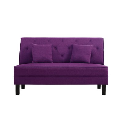 Hurst Tufted Loveseat Upholstery: Purple