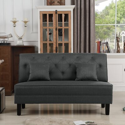Hurst Tufted Loveseat Upholstery: Charcoal