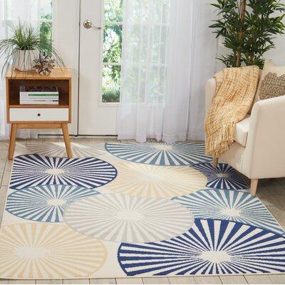 Folden Beige/Blue Indoor Area Rug Rug Size: Rectangle�710 x 910