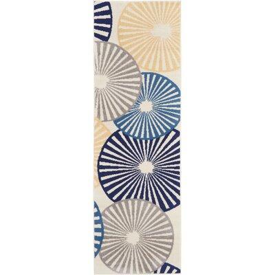 Folden Beige/Blue Area Rug Rug Size: Runner 23 x 76