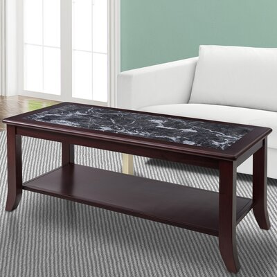 Image of Fenske Marble Top Coffee Table Table Base Color: Cherry, Table Top Color: Gray