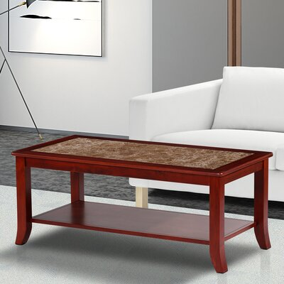 Fenske Marble Top Coffee Table Table Base Color: Brown, Table Top Color: Beige