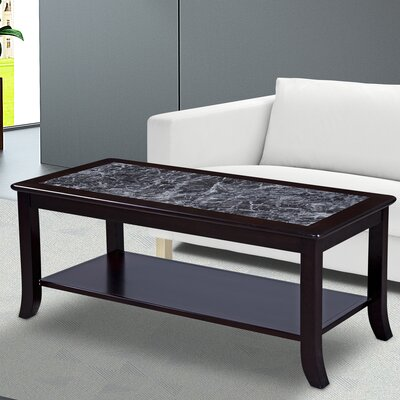 Image of Fenske Marble Top Coffee Table Table Base Color: Black, Table Top Color: Gray
