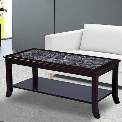 Fenske Marble Top Coffee Table Table Base Color: Black, Table Top Color: Gray
