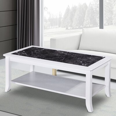 Fenske Marble Top Coffee Table Table Base Color: White, Table Top Color: Black