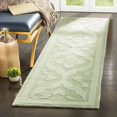 Trombetta Hand Tufted/Hand Loomed Wool Green Area Rug Rug Size: Runner 23 x 8