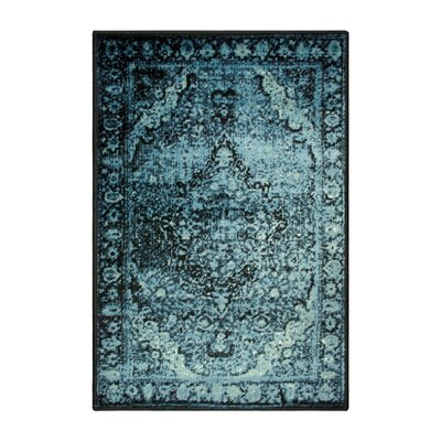 Sanders Midnight Blue on Black Area Rug Rug Size: Rectangle 2 x 3