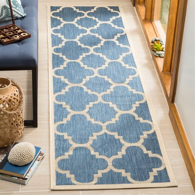 Short Lattice Blue/Beige Indoor/Outdoor Area Rug Rug Size: Runner 24 x 67