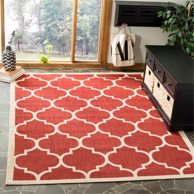 Short Red/Beige Outdoor/Indoor Area Rug Rug Size: Rectangle 53 x 77