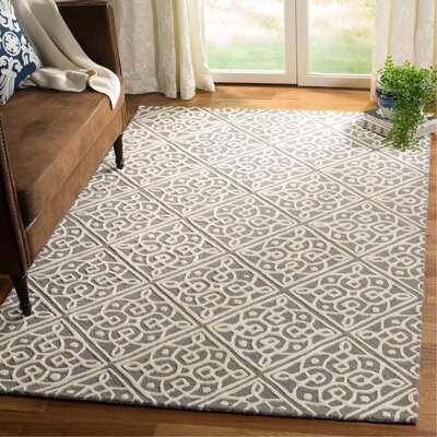 Mahoney Hand-Tufted Dark Gray/Ivory Area Rug Rug Size: Rectangle 8 x 10