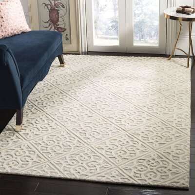 Mahoney Hand-Tufted Light Gray/Ivory Area Rug Rug Size: Rectangle 5 x 8