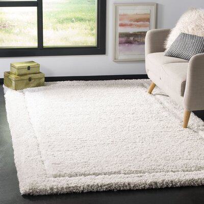 Wilbert Shag Hand-Tufted Ivory Area Rug Rug Size: Rectangle 3 x 5