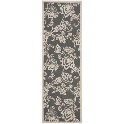 Highland Lily Anthracite/Beige Area Rug Rug Size: Runner 27 x 82
