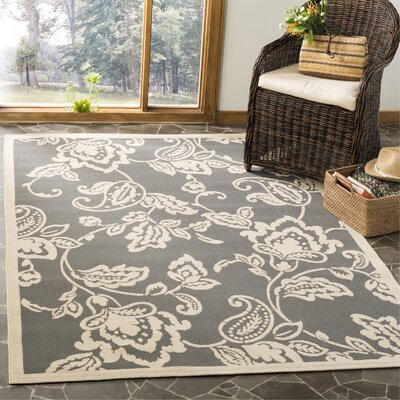 Highland Lily Anthracite/Beige Area Rug Rug Size: Rectangle 53 x 77