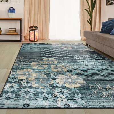 Reina Blue/Beige Area Rug Rug Size: Rectangle 2 x 3
