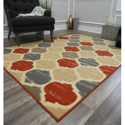 Trumble Trellis Cream Area Rug Rug Size: Rectangle 5 x 7
