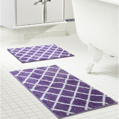 Jeanie Jacquard Bath Rug Set Color: Purple