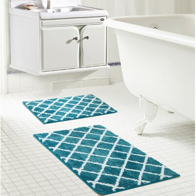 Jeanie Jacquard Bath Rug Set Color: Teal
