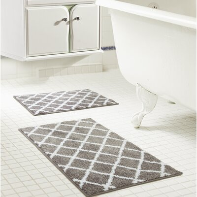 Jeanie Jacquard Bath Rug Set Color: Gray