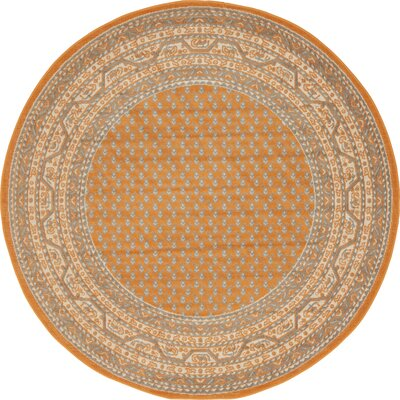 Gillam Orange Area Rug Rug Size: Round 5