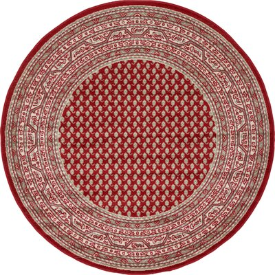 Gillam Red Area Rug Rug Size: Round 5