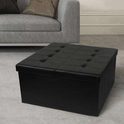 Tondola Button Folding Storage Ottoman Finish: Black