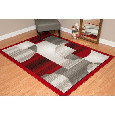 Jerome Red/Gray Area Rug Rug Size: 53 x 72