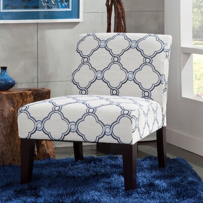Gruver Slipper Chair Upholstery: Blue/White