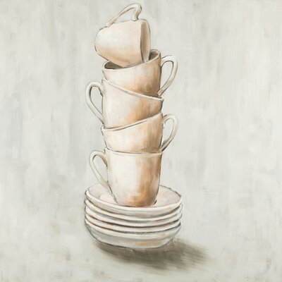 'Stacked Cups' Oil Painting Print on Wrapped Canvas 25BF6D8643F24487950B2FD4F2E0BCD9