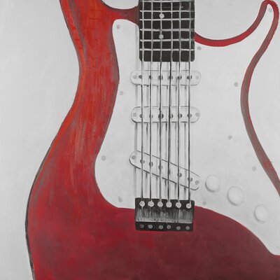 'Electric Guitar' Oil Painting Print on Wrapped Canvas 7CD9316245E74FDF914EDA28F9F30E45