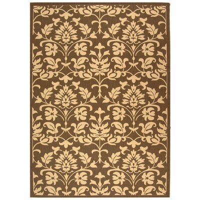 Short Classic Chocolate / Natural Outdoor Area Rug in , Rectangle 67 x 96