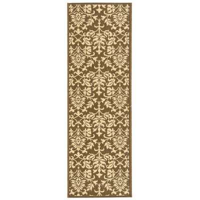 Short Classic Chocolate / Natural Outdoor Area Rug in , Runner 24 x 67