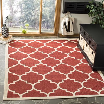 Short Red/Beige Outdoor/Indoor Area Rug Rug Size: Square 5'3