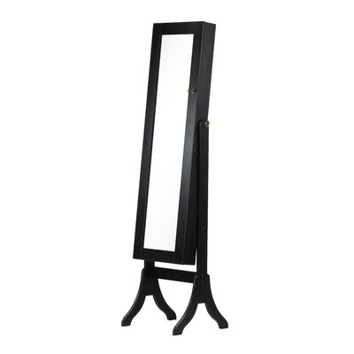 Charlotte Jewelry Armoire with Mirror Finish: Black