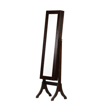 Charlotte Jewelry Armoire with Mirror Finish: Dark Walnut
