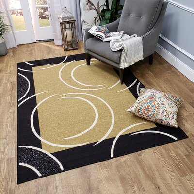 Hinnenkamp Arch French Border Black/Yellow Area Rug Rug Size: Rectangle 82 x 910