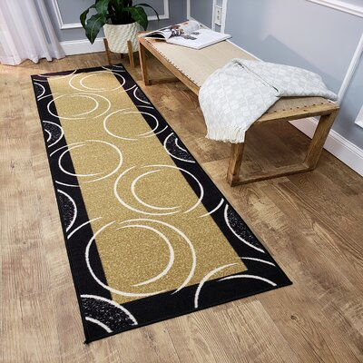 Hinnenkamp Arch French Border Black/Yellow Area Rug Rug Size: Runner 110 x 610
