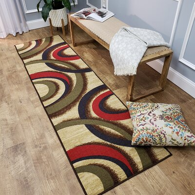 Hinnenkamp Interlocking Circles Beige Area Rug Rug Size: Runner 110 x 610