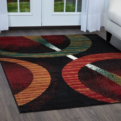Simona Modern Black Area Rug Rug Size: Rectangle 52 x 74