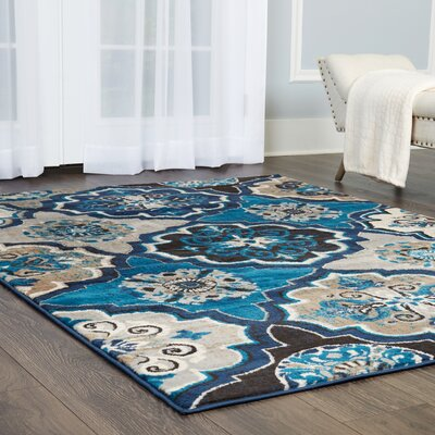 Albion Blue/Beige Area Rug Rug Size: Rectangle 53 x 72