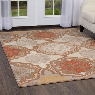 Albion Orange/Gray Area Rug Rug Size: Rectangle 33 x 52